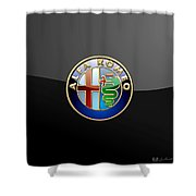 Alfa Romeo - 3 D Badge On Black Shower Curtain