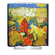 Algeria, Traditional Market, Tourist Advertising Poster Shower Curtain