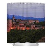 Alhambra Granada Dusk Shower Curtain