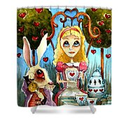 Alice And The Rabbit Having Tea... Shower Curtain by Lucia Stewart