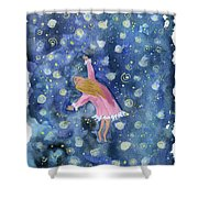 Alice Flying Inthe Night Sky Shower Curtain