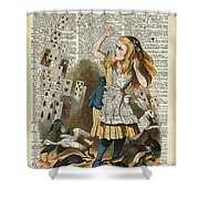 Alice In The Wonderland On A Vintage Dictionary Book Page Shower Curtain
