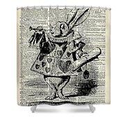 Alice In The Wonderland The Whitte Rabbit Shower Curtain by Anna W