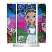 Alice In Wonderland Inspired Triptych Shower Curtain