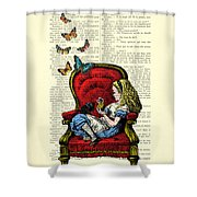 Alice In Wonderland Playing With Cute Cat And Butterflies Shower Curtain