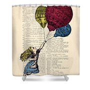 Alice In Wonderland With Big Colorful Balloons Shower Curtain