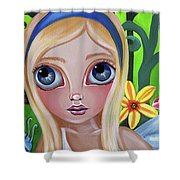 Alice Meets The Caterpillar Shower Curtain