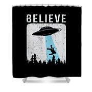 Alien Believe Funny Ufo Gift Shower Curtain