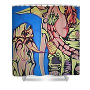 Alien Birds Shower Curtain