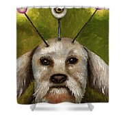 Alien Dog Shower Curtain by Leah Saulnier The Painting Maniac