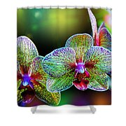 Alien Orchids Shower Curtain by Bill Tiepelman