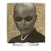 Alien Over Dictionary Page Shower Curtain