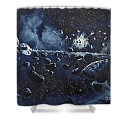 Alien Saucers Playing Dodge Rock Shower Curtain