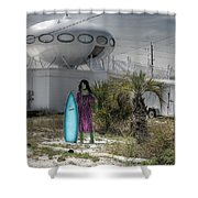 Alien Space Ship House Florida Architecture Shower Curtain