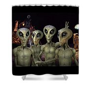 Alien Vacation - Kennedy Space Center Shower Curtain