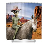 Alien Vacation - Monument Valley Shower Curtain