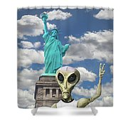 Alien Vacation - New York City Shower Curtain