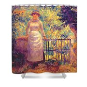 Aline At The Gate Girl In The Garden 1884 Shower Curtain