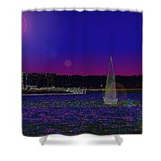 Alki Ghost Sail Shower Curtain