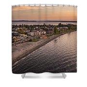 Alki Point Aerial Sunset Shower Curtain