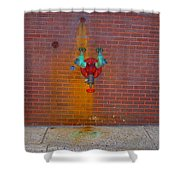 All Alone Red Pipe Shower Curtain