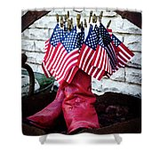 All American Flag And Red Boots - Painterly Shower Curtain
