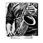 All Blues Man With Jazz On The Side Shower Curtain by Bob Orsillo