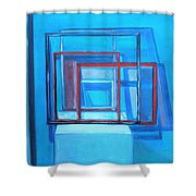 All Square And Blue Shower Curtain