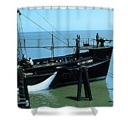 Allen Cody Of The Del Monte Fishing Co. And A Fin Whale 1967 Shower Curtain