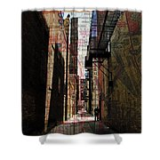 Alley And Guy Reading W Map Shower Curtain by Anita Burgermeister