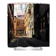 Alley Front Street W Map Shower Curtain by Anita Burgermeister