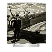 Allied Pilots Taking Stock Shower Curtain