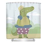 Alligator On The Beach Shower Curtain