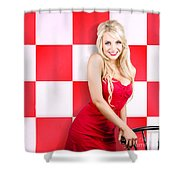 Alluring Long Haired Blonde Beauty In Retro Cafe Shower Curtain