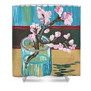 Almond Blossoms In A Glass Shower Curtain
