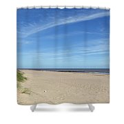 Almost Deserted Beach At Skegness Shower Curtain