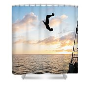 Aloft Into The Amber Skies Shower Curtain