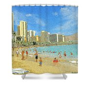 Aloha From Hawaii - Waikiki Beach Honolulu Shower Curtain