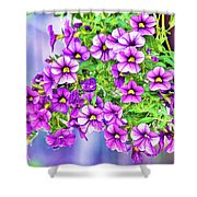 Aloha Purple Sky Calibrachoa Abstract II Shower Curtain