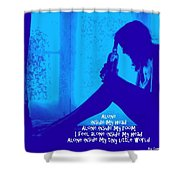 Alone In Blue Shower Curtain