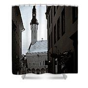 Alone In Tallinn Shower Curtain by Dave Bowman