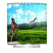 Alone In The Field Shower Curtain
