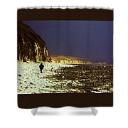 Alone On The Beach In Yorkshire Shower Curtain