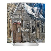Along A Cold Country Road Shower Curtain