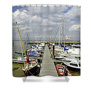 Along C Pontoon In Ryde Harbour Shower Curtain