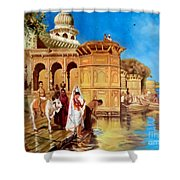 Along The Ghats, Mathura After Edwin Lord Weeks Shower Curtain