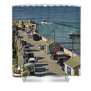 Along The South Pier - Newquay Harbour Shower Curtain