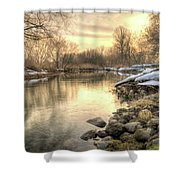 Along The Thames River Signed Shower Curtain by Garvin Hunter