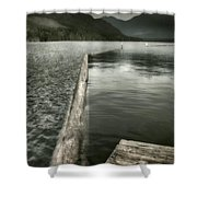 Along The Washington Coast - Dock, Breakwater, And Mountains Shower Curtain
