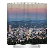 Alpenglow Over Portland Oregon Cityscape Shower Curtain